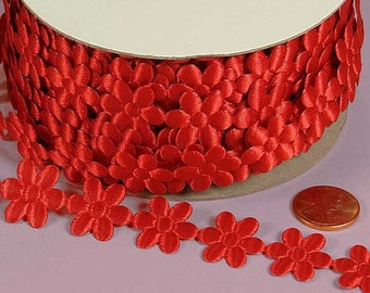 3\/4 Flower Charm Ribbon - Red