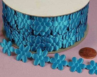 3/4 Flower Charm Ribbon - Turquoise