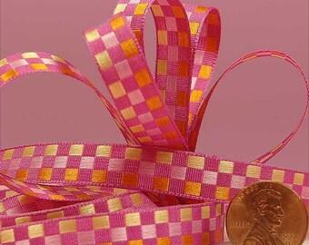 3/8 Checkered Ribbon - Hot Pink