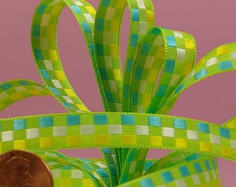 "3/8"" Checkered Ribbon - Green"
