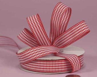 3\/8 Mini Gingham - Red