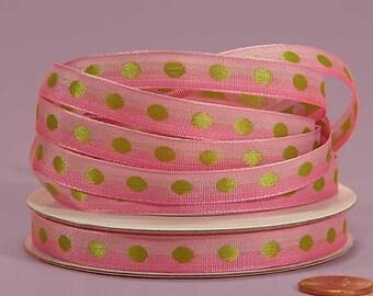 3/8 Polka Dot Ribbon - Pink with Apple Dots