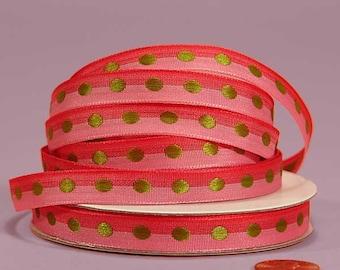3/8 Polka Dot Ribbon - Pinks with Apple Dots
