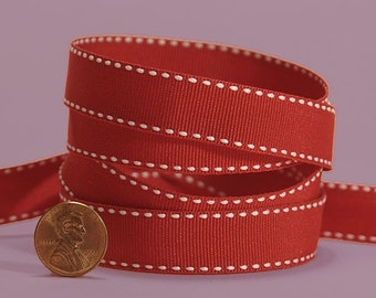 3/8 Side Stitch Ribbon - White on Red