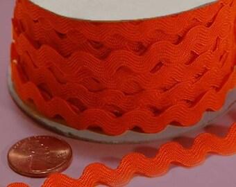 Ric Rac - 5 mm Orange Trim Ribbon Party Crafts Supplies Decorations Wavy Zigzag Yard Sewing