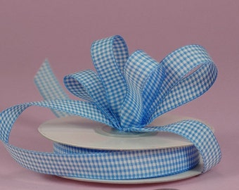 3/8 Mini Gingham - Sky Ribbon