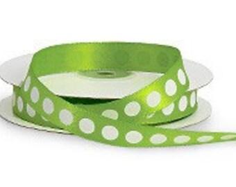 5/8 Green Satin Ribbon with White Dots