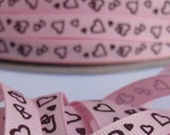 3/8 Hearts Grosgrain  Pink