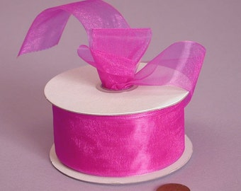 7/8 Sheer Ribbon - Fushia