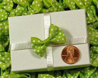 10 - Lime Green PolkaDot Bows