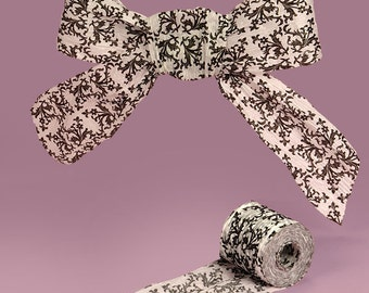 """1 1/2"""" or 1.5"""" Paper Ribbon Black and White Damask"""