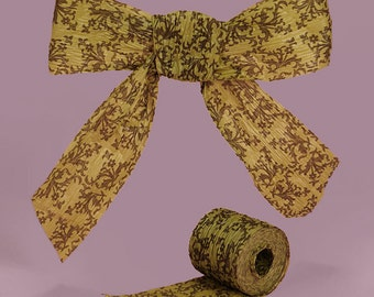 """1 1/2"""" or 1.5"""" Paper Ribbon Chocolate and Sage Damask"""