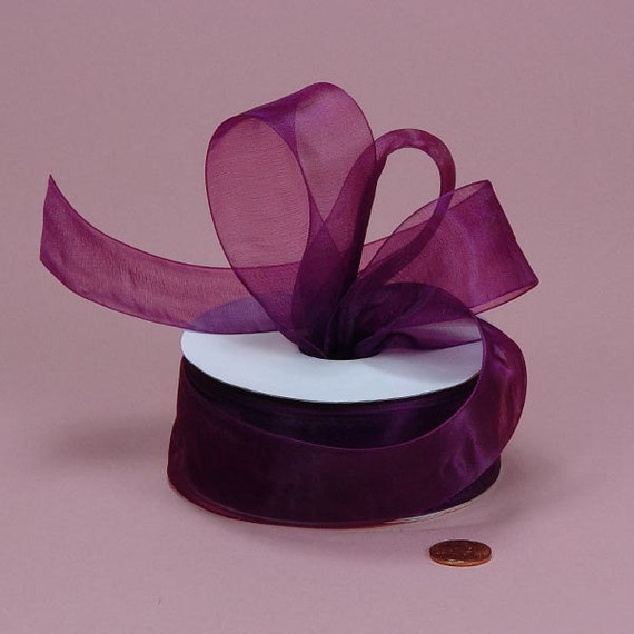 7/8 Sheer Ribbon - Plum