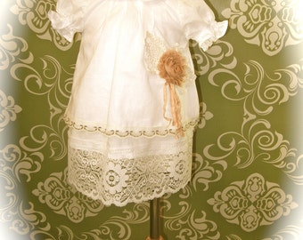 Ava Dress Vintage InspireD ShaBby ChiC n TattereD / Easter / Baptisms / Blessings / Christenings / BirthdaYs / WeddinGs / and More---