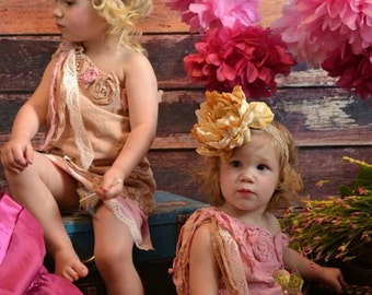 ShabBy Chic One of A KinD VinTage InspiRed Sophie Dress Pink-LaCe-PearLs-RosEs-ButterFlies- Girls 12M-10Yrs