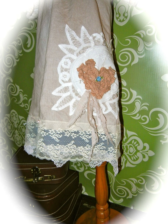 Ellee Dress One Of A KinD Vintage Inspired Peasant Style Hand Dyed with LacE PearLs Hearts RoseS and More...