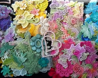 Crazy Quilt Lace, Inspiration Lace Kit, Venise Lace Trim, Lace Embellishment,  Hand Dyed Lace ,Scrapbook Supply, Applique, Crazy Quilt Kit