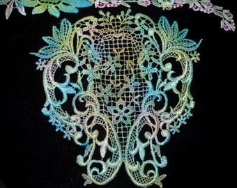 Aqua Teal Green Lace Yoke Hand Dyed Venise Applique Motif