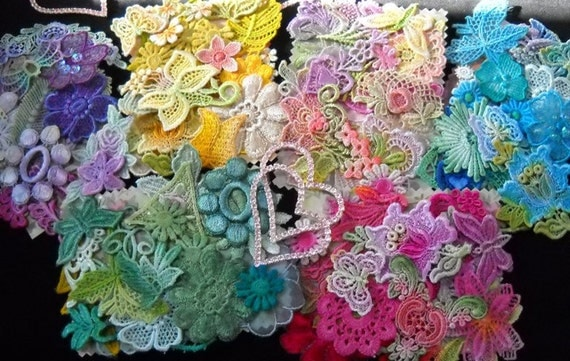 Crazy Quilt Summer Chic Venise Lace Trim Embellishment Hand Dyed Applique Motif Vibrant Rainbow Crazy Quilt Kit