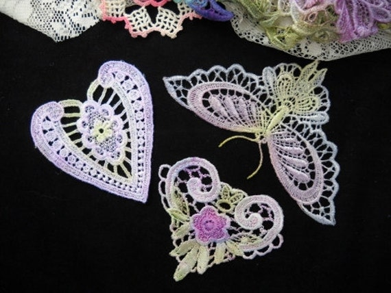 Lilac Butterfly Heart Hand Dyed Venise Lace Crazy Quilt Applique Kit