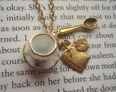 Tea Time - Teacup Charm and Saucer, Tea bag and Spoon Necklace Gift for Mom Gift Under 25