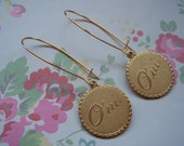 Oui Earings French Disc Earings Gold Discs Long Dangle Earings