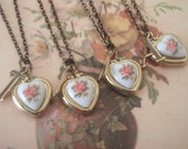 Personalized Letter Initial Vintage Heart Locket  Bridesmaids Gift Set, Bulk Listing with Discount Necklace Set of Five