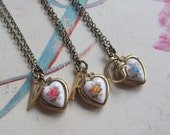 Personalized Letter Initial Vintage Heart Locket  Bridesmaids Gift Set, Bulk Listing with Discount Necklace and Earring Set of Three