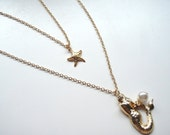 Mermaid, Pearl and Star Duo Necklace -Two Necklace Set