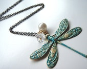 Fly Away with Me Vintage Dragonfly Necklace Turquoise