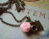 Camera Charm Necklace Bronzed Camera with Pink Rose Dark Chain - Photographers Dream