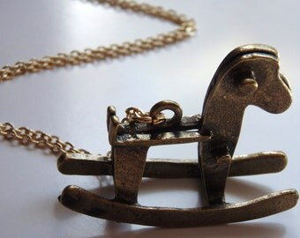 Childrens Rocking Horse Necklace, New Mommy Gift