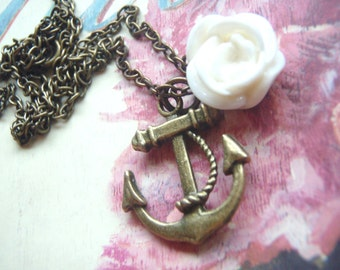 Anchor and Rose Necklace, Nautical, Ship, Antique Chain, Gift for Mom, Sister, Bridesmaids Gifts