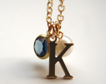 Personalized Initial Necklace,  Choose Your Own Letter Charms, Name, Bridesmaid Gifts,Flower Girls