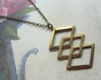 Geometric Brass Necklace, Long Layering Necklace, Triangle Charm Necklace, Gift for her, Art Deco Style Jewelry