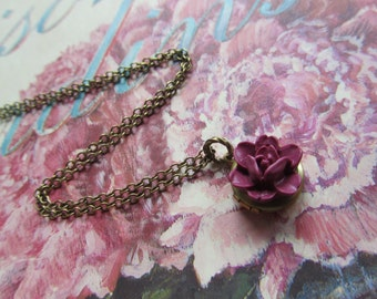 Small Locket Necklace, Round Locket, Maroon rose locket,bridesmaids gift, gift for mum mom, mothers day gift, Flower Girls, Necklace