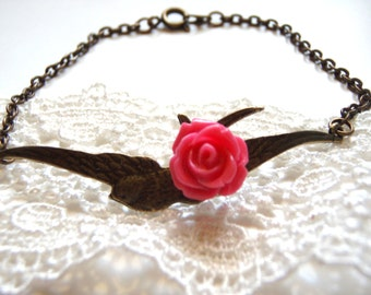 Soaring Bird with Little Pink Rose -Sweet Flying Bird Bracelet - The Swallow and The Rose