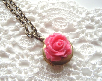Small Round Locket with Pink Rose, Dainty Locket, Valentines Day Gift, Girl Gift