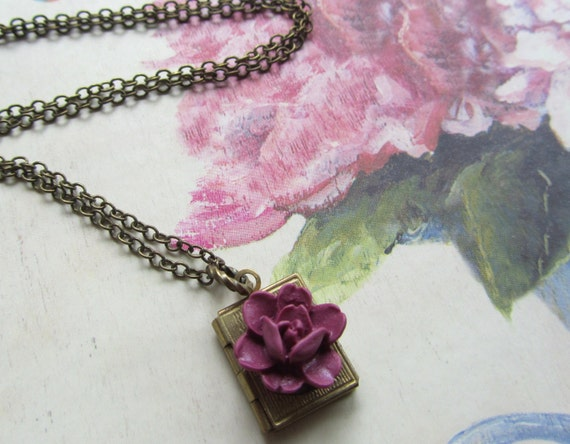 Purple Rose and Book Locket Necklace, Bridesmaids Gifts, Gifts for mom, sister, Book Lovers Gift