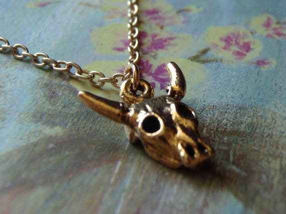 Animal Skull Charm Necklace -Antique Gold Dimensional Skull Charm