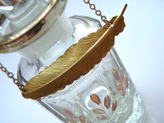 Gold Feather Necklace, Simple Delicate Necklace, Summer Fashion, Gold Necklace