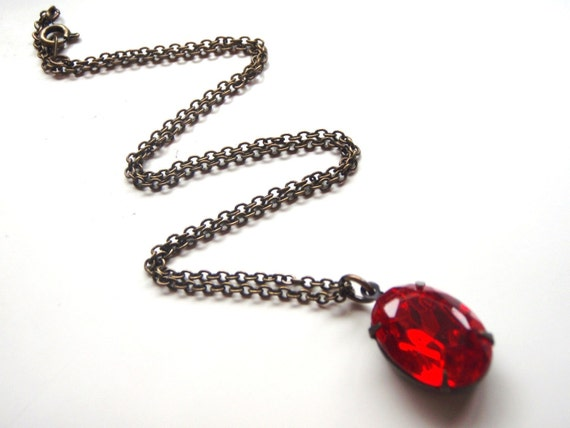 Red Ruby Vintage Glass Jewel Necklace Estate Style July Birthstone