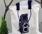Vintage Camera Screenprinted Canvas Tote Bag