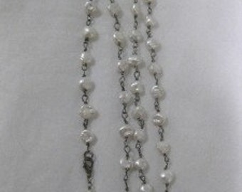 "Freshwater Pearls and Oxidized Sterling Long  32"" Necklace"