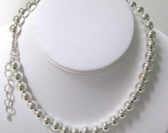 Sterling Silver 10mm Bead Necklace