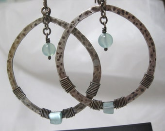 Aventurine and Sterling Silver Oxidized Hoop Earrings