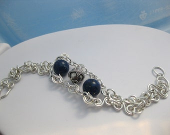 Lapis and Sterling Silver Hand Forged LInk Bracelet