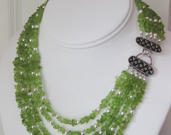 Peridot and Sterling Silver Five Strand Necklace