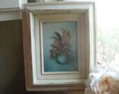Distressed Shabby Chic Cottage Paris Original Mini Painting White Frame Turquoise Aqua