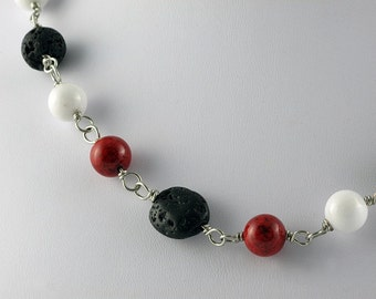 Red Hot Lava Wire Linked Stone Necklace